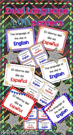 Dual language signs -  Language of the day signs / posters for dual language and bilingual classrooms with English - blue & Spanish - red (9 total with 3 designs).