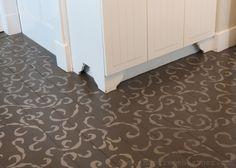Stenciling a wooden floor via Inspire Me Heather | Sea Scrolls Stencil | Royal Design Studio