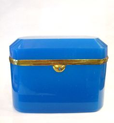 French 19th Century Blue Opaline glass box with clipped corners and bronze mounts.