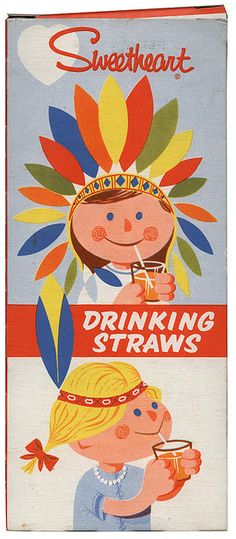 vintage drinking straw packaging graphics. This ad depicts an American era. It has raciest connotations.