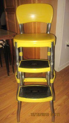 Vintage Cosco Kitchen Step Stool Chair Retro Silver