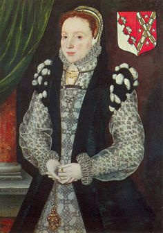 1567 Mary Hill, Mrs MacWilliam by Master of the Countess of Warwick. Lady Mary's dress has several interesting features. The gauzy material, found on her sleeves and partlet, is either printed or embroidered with blackwork. She appears to be wearing a vest-overdress that includes the rolled sleeves. Her hands cover the probable location of a vee waistline, but there could be no separation there at all (rather unlikely). Her pendant suggests her dress has a girdle and vee waistline.