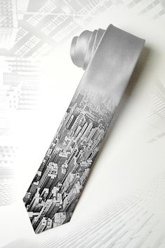 City landscape mens necktie City Space Tie for trendy by tiestory