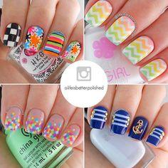 Nail Art Collage via #lifeisbetterpolished #nailasaurus #nailart #polish #manicure