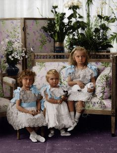 A great colorized photograph (Colored by Alenka) Tsar Nikolai II's daughters Grand Duchesses Olga Nikolaevna (1895-1918), Tatiana Nikolaevna (1897-1918) and Maria Nikolaevna (1899-1918) Romanova of Russia in 1900. Anastasia was born the following year.