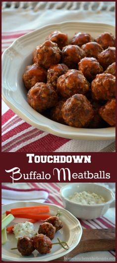 Touchdown Buffalo Meatballs-  Easy, tasty & make-ahead for Super Bowl snacking! http://homeiswheretheboatis.net/ #superbowlparty  #makeaheadrecipe   #buffalomeatballs