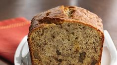 Rich buttermilk, crunchy nuts and flavorful, ripe bananas make this banana bread tops.