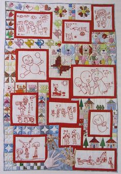 Embroidered blocks of child's artwork....oh, I like this idea!