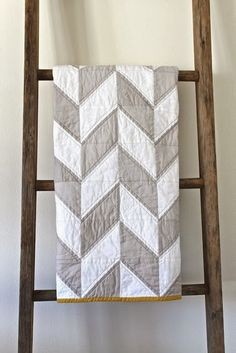 Grey & White Herringbone Quilt