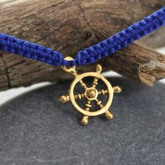 Nautical Friendship Bracelet    #etsy #jewelry #homemade #handmade #braided #blue #gold #ship #wheel #steer #spring #bracelets #apparel #design