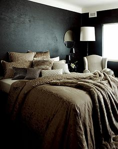 Dark Grey Bedroom Walls | black wall out of our system. We're loving the idea of using black ...