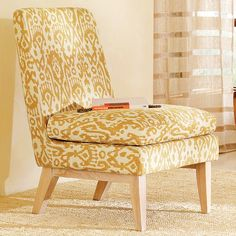 Beige and ivory ikat slipper chair, West Elm