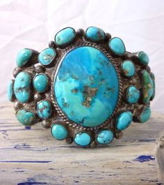 79 g PRIMITIVE Vintage Navajo Sterling Silver Cuff Bracelet w Multi-Mine Turquoise Cabochons and Great Silver Work! Fabulous OLD Piece!