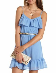 Belted Ruffle A-Line Dress: Charlotte Russe