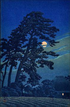 Hasui Kawase ~ Moon at Megome, 1930 (woodblock)