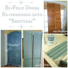 Repurposed Bi-Fold Doors {Duck Egg Blue Chalk Paint}  #repurpose #chalkpaint