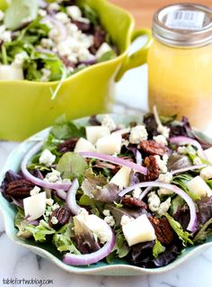 Pear, Blue Cheese, and Candied Pecan Salad