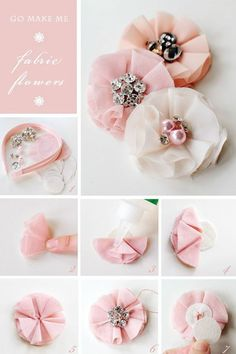 Fabric flowers with brooch centres