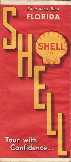 Vintage Shell Gas Road Map