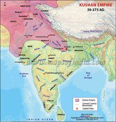 Kushan Empire Map annot map, inform map, empir map