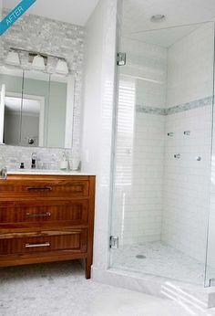 Shower tile with accent tile. Floor tile.