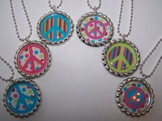 Birthday Party Favors Funky Peace Sign Bottle by PARTYCAPZNBOWS