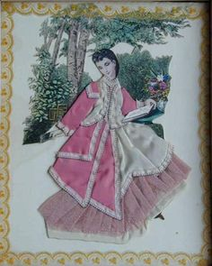 """variation of a """"ribbon doll"""" picture based on a fashion print. It has been embellished with satin fabric, ribbon, and netting."""