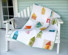 This refreshingly homy quilt was designed by Cynthia Shaffer in her book, Stash Happy: Patchwork.  The pattern and tutorial is an excerpt from her book and provides excellent step-by-step direction with great imagery.  This project is brought to us by the team at Lark Crafts.  http://www.freequiltpatterns.info/free-pattern---wonky-cottage-quilt-by-cynthia.htm