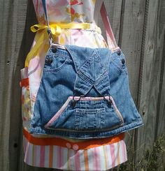 Recycled Denim Handbag Purseall With Vintage Print by PickedGreen, $50.00