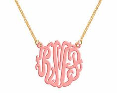 Monogram Necklace   Acrylic  Necklace. $22.00, via Etsy.  I was really looking for gold, but I like the pop of color!!