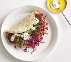 Lentil Fritter Pitas With Red Cabbage Slaw