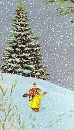 childhood books, richard scarri, richard scarry, art, snow, winter wonderland, children books, illustr, christma