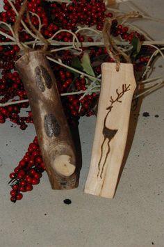 Rustic Christmas Ornaments - Reindeer - Tree Branch