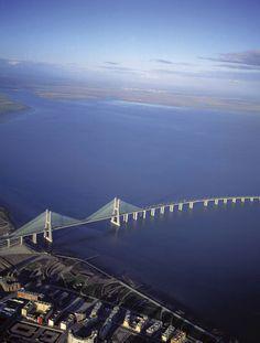 Vasco de Gama Bridge across River Tagus, Lisbon, Portugal