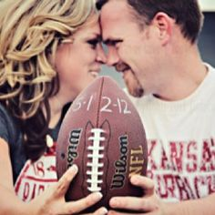 Great photo idea for a football themed wedding save the date.