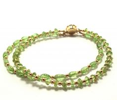 Gorgeous Double Strand Peridot Bracelet   FREE US Shipping  Peridot is a semi-precious gemstone known for its lovely spring green color.  It is one of the few gemstones found in only one color.  It is the inclusion of iron that accounts for the green color with a slight golden hue.  #bracelet #peridot #accessories #Augustjewelry #Augustbirthstone #thecraftstar #shop