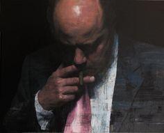 "François Bard, Insider Information, 2014, Oil on Canvas, 51"" x 63"" #Art #BDG #BDGNY #Contemporary #Painting #SelfPortrait #Cigar"