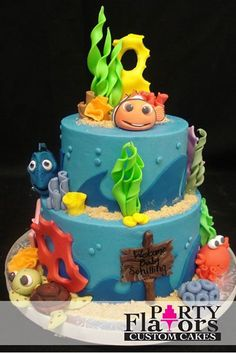 "Fun and colorful ""Finding Nemo"" cake by Party Flavors Custom Cakes, Orlando, FL wedding cakes."