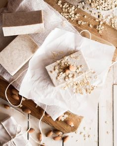 Easy Homemade Oatmeal Almond Soap at Chasing Delicious. Homemade by @Russell Sese Sese van Kraayenburg.