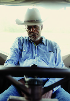 Morgan Freeman on his farm near Charleston, Mississippi. Photo by Jim Herrington