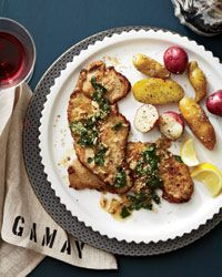 Veal Scaloppine with Wilted Parsley, Lemon and Sesame Recipe