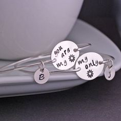 You are my Sunshine Bracelet Personalized Mother Daughter Set by georgiedesigns