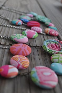 fabric covered buttons  Easy necklace for Marleigh