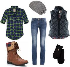 How to wear a flannel shirt with boots, skinnies, a vest, and winter accessories winter accessories, fashion, cloth, flannel shirt, outfits with flannel, fall outfits, girl style, winter outfits, combat boots
