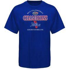 Tulsa Golden Hurricane 2012 C-USA Football Champions Locker Room T-Shirt - Royal Blue  (thomas Mens small- Reade kids medium)