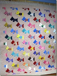 Scottie Dog quilt, 1933-1943, with colorful depression-era prints.  There is a funny story about the quilt at this link.