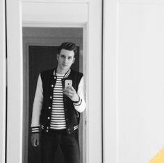 Stripe top and varsity jacket