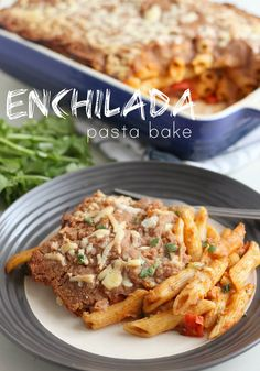 Enchilada pasta bake smothered in refried beans and cheese