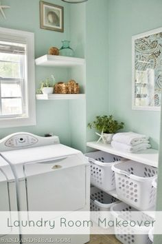 organize small laundry room, floating shelves, laundry room wall colors, small laundry room colors, laundry rooms, paint colors, laundry baskets, laundri room, laundry room makeovers