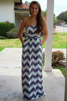 Grey Chevron Maxi Dress
